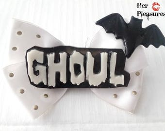 GHOUL Bat Horror Hair Haunted Hair Candy Mixed Media Handmade Bow