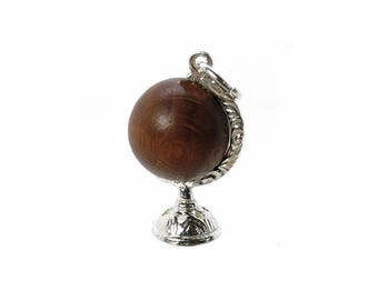 Sterling Silver Lucky Touch Wud Wood Globe Charm For Bracelets