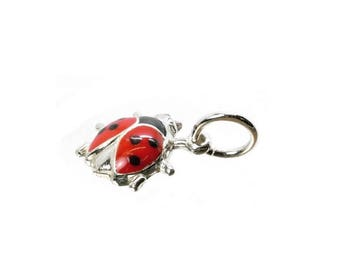 Sterling Silver Enamelled Ladybird/Bug Charm For Bracelets