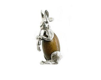 Sterling Silver Lucky Touch Wud Wood Rabbit Charm For Bracelets
