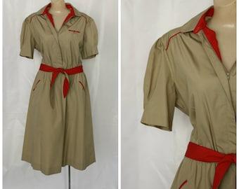 1970s Safari Dress / Scout Leader Dress / Vintage 70s Khaki Dress / Militaryesque Dress / Modest Day Dress / Vintage Deadstock Dress L/XL