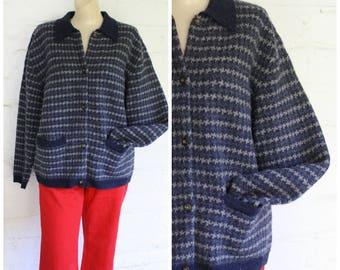 Vintage Wool Cardigan Sweater / Womens Button Front Sweater / Slate Blue Sweater / Vintage Eddie Bauer Sweater L/XL