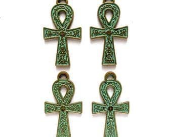 4 Patina Plated Ankh Pendant/Charms - 21-8-1