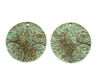 2 Patina Plated Antique Bronze Disc Pendant/Charms- 30-23-3