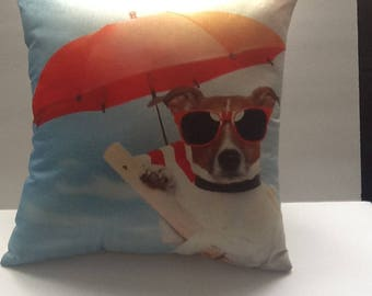 "Beachy throw pillow, cute dog relaxing on the beach. 18"". Decorative accent pillow !"