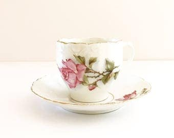 Vintage Tea Cup / Antique collection Pink Roses / Floral Tea Cup / Gold Trim ~ Made in Germany~ Cup & Saucer~ Bone China