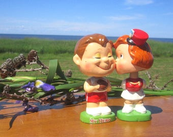 My Hero  Bobble Heads Kissing Dolls Happy Kids My Hero Kissing Boy and Girl Football Bobble Heads