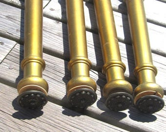 Mid Century Danish Modern Gold fancy Furniture Legs Set of 4 15 inch upcycle furniture parts 170702