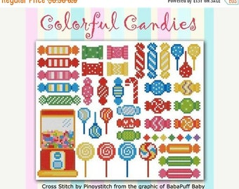 25% OFF SALE Pinoy Stitch Colorful Candies Counted Cross Stitch Pattern