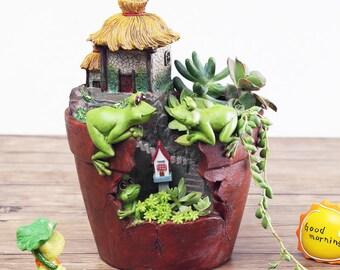 Lovely Frog Resin Flower Pot Succulent Plants Pots Micro-landscape Planter Home Garden Decoration Bonsai Planter Flowerpot