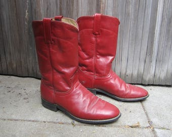 Red cowboy boots Roper style vintage ladies