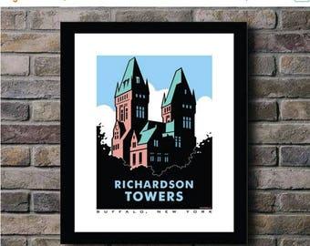 ON SALE Richardson Towers Buffalo, NY Digital Print - 11x14