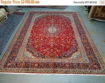 SUMMER CLEARANCE Persian Rug - 1980s Vintage, Room-Sized Kashan Rug (3569)