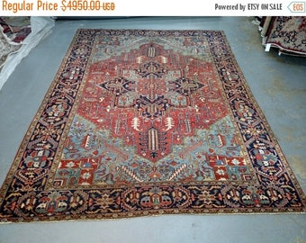 SUMMER CLEARANCE Persian Rug - 1930s Hand-Knotted Antique Heriz (3572)