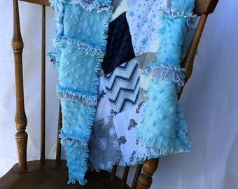 Baby Boy Minky Rag Quilt Chevron Elephants