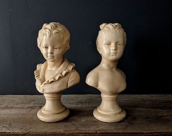 Pair of Vintage Chalkware Boy and Girl Busts ABCO Alexander Backer New York