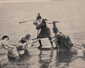 1900's Bathing Beauties postcard - Wont you come play with us  - women on beach in bathing suits - bare shoulder