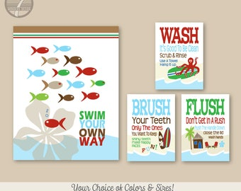 "Childrens Kids Bathroom Art Prints Set of (4) 11"" x 14"", 5"" x 7"" Swim Your Own Way Surf Board Theme - White, Fine Art Home Decor, Unframed"