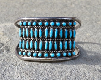 Vintage Turquoise Cuff,Turquoise Petit Point Snake Eye,Native American Turquoise Jewelry,Vintage Zuni Turquoise,Zuni Snake Eye Turquoise