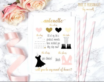 Will you be my bridesmaid card bridesmaid details card bridesmaid box card