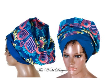 Head scarf/ African head wraps/ Royal blue Reversible/ African Hair Wrap/ African Head scarf/ African Head Ties/ tess world  HT210