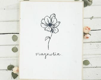 Simple magnolia flower black and white wooden sign