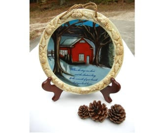 Decorative Plate with Winter Scene, Lovely 3 Dimensional Sculpted Edge, Red House in Snow Collectible Plate