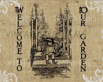 Garden welcome hollyhock printable graphic Digital image for Iron on transfer sheet burlap fabric decoupage pillows tote bags cards No. 731