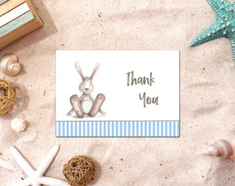 Bunny Rabbit Boy | Thank You Cards | Printable PDF Instant Download | BSI100TY