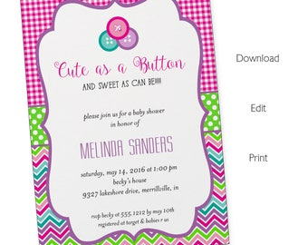 Cute As A Button Invitation | Baby Shower | Printable Editable Digital PDF  File | Instant