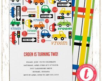 Cars and Trucks Invitation | Kids Birthday | Printable Editable Digital PDF File | Templett | KBI342DIY