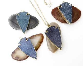 Blue Druzy Arrowhead Necklace / Gold Druzy Necklace / Bohemian Jewelry / Boho Necklace / Gold Arrowhead Necklace  / Gifts for Her