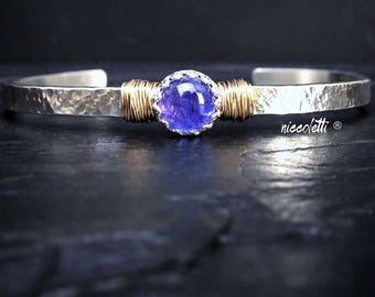 Genuine Tanzanite Cuff Bracelet / December Birthstone Gift for Wife or Mom / Violet Blue Gemstone Bracelet / Mixed Metals Jewlery