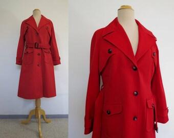 Vintage Coat - Red Coat - Red Trench Coat, Overcoat, Raincoat - Bust 91-96 cm