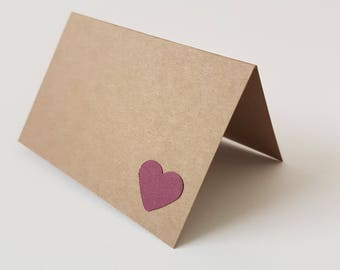 50 to 300 heart tent-style cream place cards- escort cards- burgundy- heart card -white, kraft, black, champagne, blush pink