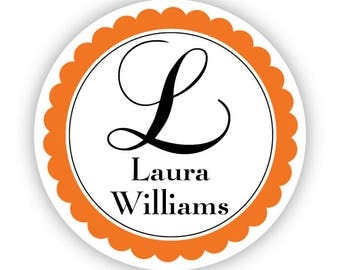 Personalized Name Label Stickers - Orange Initial Monogram Name Tag Stickers - Custom Round Name Sticker Tags - Back to School Name Labels