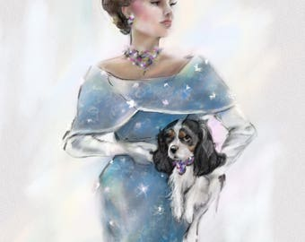 PRINT Nostalgic Glamour Cavalier King Charles spaniel Dog Art Vintage Fashion  Couture