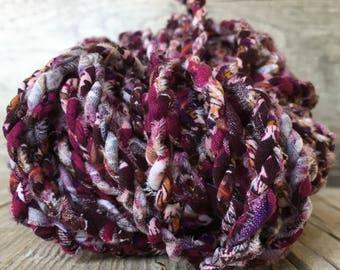 Handmade Boho Fabric Cord - Twisted Fabric Twine - Fiber Art - Handmade Fabric Cord - Ribbon Cord