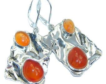 Fire Opal, Carnelian Sterling Silver Earrings - weight 11.20g - dim L- 1 7 8, W - 7 8, T- 3 16 inch - code 19-wrz-16-46