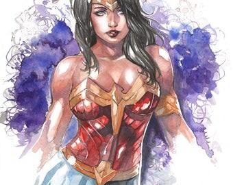 Wonder Woman Watercolor Print by Hanzozuken
