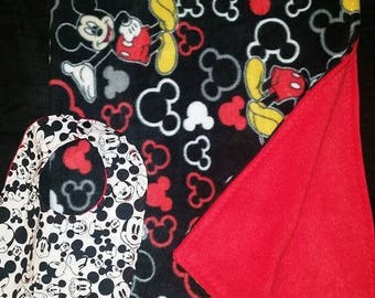 Mickey Mouse Blanket and Bib Set