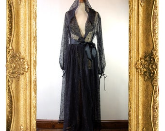 Black Cobweb Hooded Wrap Dress Dressing Gown