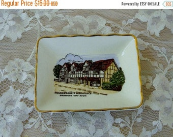 Summer Sale Shakespeare Birthplace Collectible Mini Plate, Stratford on Avon, Vintage Item, Ashley Glough Souvenirs, Made in England