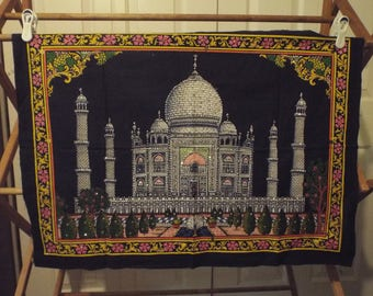 Vintage 1980s Taj Mahal Sewing Project Panel With Sequence Sewing Fabric Material
