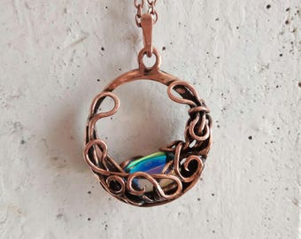 Rainbow Aura aqua quartz necklace Elven pendant Wire copper necklace Birthday gifts for her Boho jewelry Wire wrapped Crystal necklace