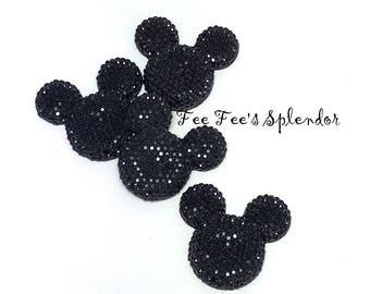 Set of 5 - Mickey Minnie Mouse Rhinestone Flatback * Black * flat back resin - Hair bow Center