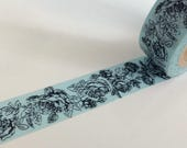 """CLEARANCE Floral Washi Tape """"Toile Rose"""" in Light Blue 15mm x  10 meters"""