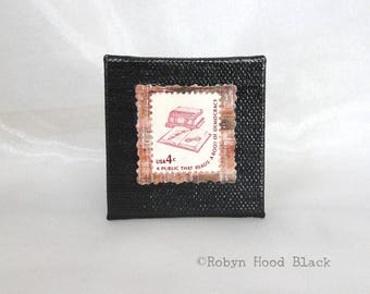 Books and Glasses Vintage Postage Stamp Magnet 2 X 2