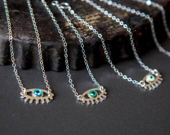Silver evil eye bracelet with a touch of enamel - silver sterling chain - protection bracelet - tiny evil eye bracelet