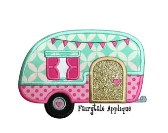 Digital Machine Embroidery Design -  Retro Camper Applique